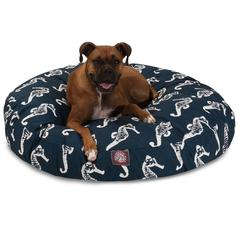 Navy Sea Horse Large Round Pet Bed