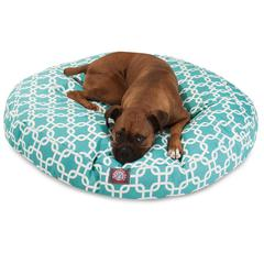 Teal Links Large Round Pet Bed