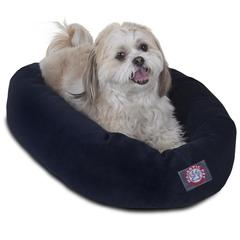 "24"" Navy Villa Collection Micro-Velvet Bagel Bed By Pet Products"