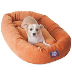 """32"""" Orange Villa Collection Micro-Velvet Bagel Bed By Pet Products"""
