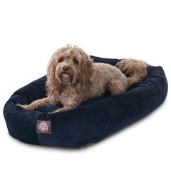 "Majestic 32"" Navy Villa Collection Micro-Velvet Bagel Bed By Majestic Pet Products"