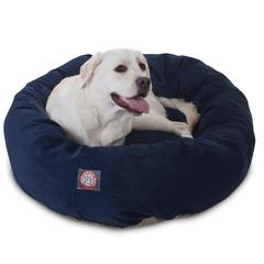 """Majestic 40"""" Navy Villa Collection Micro-Velvet Bagel Bed By Majestic Pet Products"""