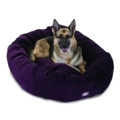 """Majestic 52"""" Aubergine Villa Collection Micro-Velvet Bagel Bed By Majestic Pet Products"""
