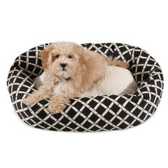 "24"" Black Bamboo Sherpa Bagel Bed"