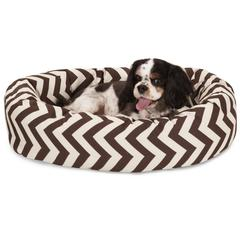 "Majestic 24"" Chocolate Chevron Sherpa Bagel Bed"