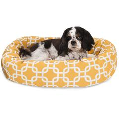 """Majestic 24"""" Yellow Links Sherpa Bagel Bed"""