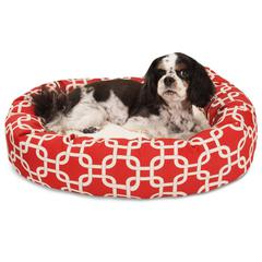 "24"" Red Links Sherpa Bagel Bed"
