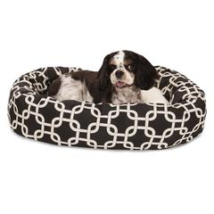 "24"" Black Links Sherpa Bagel Bed"