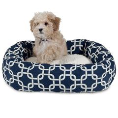 "24"" Navy Blue Links Sherpa Bagel Bed"
