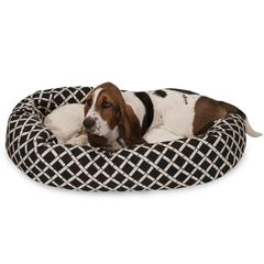 "Majestic 32"" Black Bamboo Sherpa Bagel Bed"