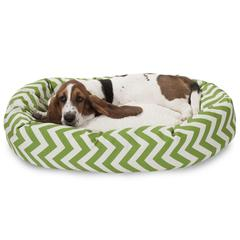 "Majestic 32"" Sage Chevron Sherpa Bagel Bed"