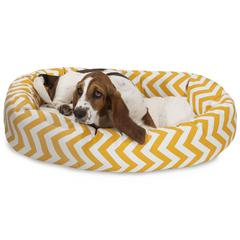 "Majestic 32"" Yellow Chevron Sherpa Bagel Bed"