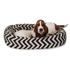 "32"" Black Chevron Sherpa Bagel Bed"