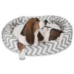 "32"" Grey Chevron Sherpa Bagel Bed"
