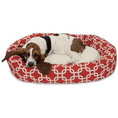 """32"""" Red Links Sherpa Bagel Bed"""