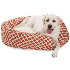 "Majestic 40"" Burnt Orange Bamboo Sherpa Bagel Bed"