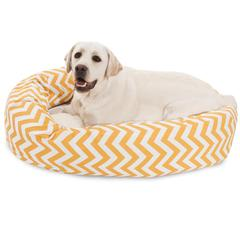 "Majestic 40"" Yellow Chevron Sherpa Bagel Bed"