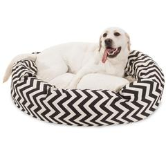 "Majestic 40"" Black Chevron Sherpa Bagel Bed"