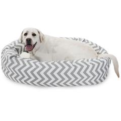"Majestic 40"" Grey Chevron Sherpa Bagel Bed"