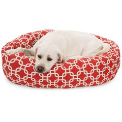 "40"" Red Links Sherpa Bagel Bed"