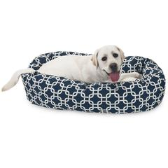 "40"" Navy Blue Links Sherpa Bagel Bed"