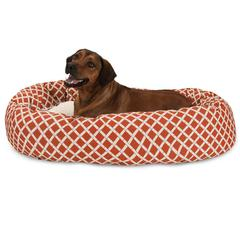 "Majestic 52"" Burnt Orange Bamboo Sherpa Bagel Bed"