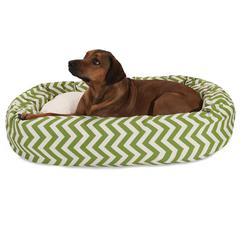 "Majestic 52"" Sage Chevron Sherpa Bagel Bed"