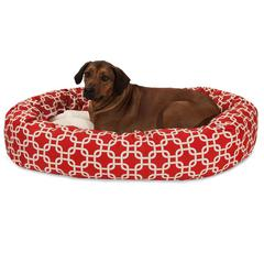 """52"""" Red Links Sherpa Bagel Bed"""