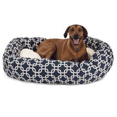 "Majestic 52"" Navy Blue Links Sherpa Bagel Bed"