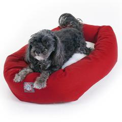 "24"" Red & Sherpa Bagel Bed By Pet Products"
