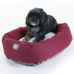 """24"""" Burgundy & Sherpa Bagel Bed By Pet Products"""