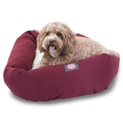 "Majestic 32"" Burgundy & Sherpa Bagel Bed By Majestic Pet Products"