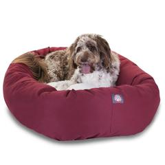 """52"""" Burgundy & Sherpa Bagel Bed By Pet Products"""