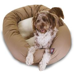 """Majestic 52"""" Khaki & Sherpa Bagel Bed By Majestic Pet Products"""
