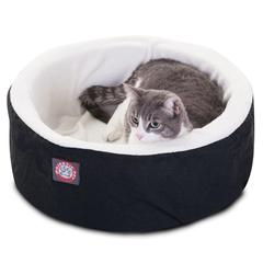 """Majestic 16"""" Black Cat Cuddler Pet Bed By Majestic Pet Products"""