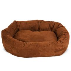 "40"" Rust Suede Bagel Dog Bed By Pet Products"