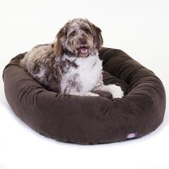 "Majestic 52"" Chocolate Suede Bagel Dog Bed By Majestic Pet Products"