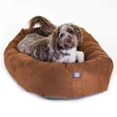 "Majestic 52"" Rust Suede Bagel Dog Bed By Majestic Pet Products"