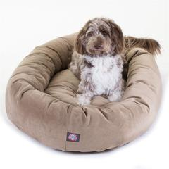 """52"""" Stone Suede Bagel Dog Bed By Pet Products"""