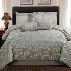 Platinum Leaves 7 pc Queen Comforter Set, Silver