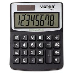 Victor 1000 Minidesk Calculator, Solar/Battery, 8-Digit LCD