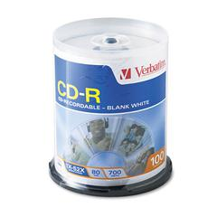 Verbatim CD-R Discs, 700MB/80min, 52x, Spindle, White, 100/Pack