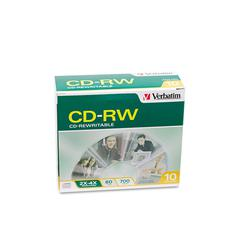 Verbatim CD-RW Discs, 700MB/80min, 2X/4X, Slim Jewel Case, Matte Silver, 10/Pack