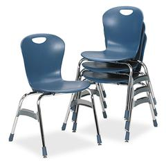 "Virco Zuma Ergonomic Stack Chair, 18"" High Bucket Seat, Blueberry, 4/Carton"