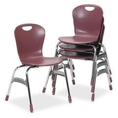 "Virco Zuma Ergonomic Stack Chair, 18"" High Bucket Seat, Wine, 4/Carton"