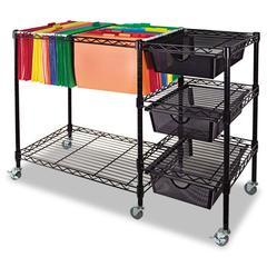 Vertiflex Mobile File Cart w/Drawers, 38w x 15 1/2d x 28h, Black