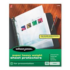 Wilson Jones Top-Loading Super Heavy Sheet Protectors, Nonglare Finish, Letter, 50/Box