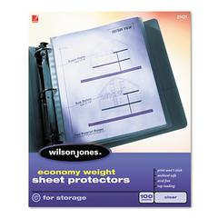 Wilson Jones Economy Weight Top-Loading Sheet Protectors, Semi-Clear Finish, Letter, 100/Box