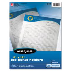 Wilson Jones Top-Loading Job Ticket Holder, Nonglare Finish, 9 x 12, Clear/Frosted, 10/Pack