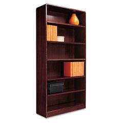 Alera Radius Corner Wood Veneer Bookcase, Six-Shelf, 35-5/8w x 11-3/4d x 72h, Mahogany